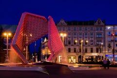 Фонтан на квадрате Wolnosci в Poznan, Стоковые Фото