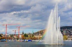 Фонтан на озере Цюрихе Стоковые Изображения RF