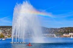Фонтан на озере Цюрихе Стоковое Изображение