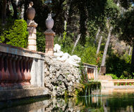 Фонтан на парке лабиринта Horta стоковые изображения rf