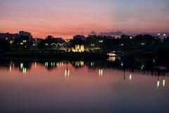 Фонтан ночи в парке Стоковое Фото