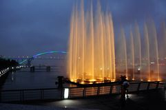 Фонтан перед мостом Lupu Стоковые Фото