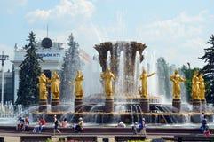 Фонтан дружбы народов день солнечный стоковые фотографии rf