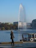 Фонтан смысла Alsterfontane на реке Alster в Гамбурге Стоковые Изображения