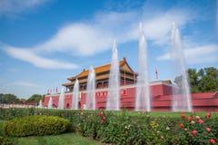 Фонтан фронта Тяньаньмэня музея национального дворца Пекина стоковое изображение