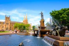 Фонтан archibald времени дня Гайд-парка ориентир ориентира Сиднея Австралии стоковая фотография