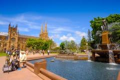 Фонтан archibald времени дня Гайд-парка ориентир ориентира Сиднея Австралии стоковое фото