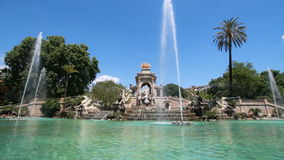 фонтан barcelona сток-видео