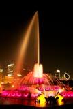 Фонтан Buckingham на ноче Стоковое фото RF