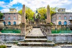Фонтан Quattro Mori Giambologna в зоне виллы Lante - Bagnaia - Лациа - Италии Стоковые Фото