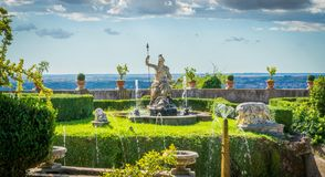 Фонтан Rometta в ` Este виллы d, Tivoli, провинции Рима, Лацие, центральной Италии Стоковое фото RF