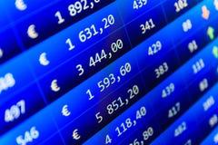 Фондовая биржа закавычит диаграмму Стоковая Фотография