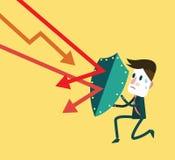 Фондовая биржа торгуя вниз для того чтобы атаковать бизнесмена Стоковые Изображения