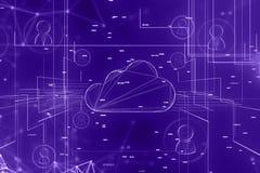 Фон сети компьютера и людей облака иллюстрация штока