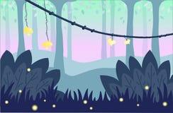 Фон с лесом сказки Стоковая Фотография RF