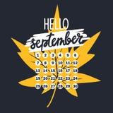 Фон с лист осени, текстом, календарем бесплатная иллюстрация