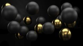 Черный и золотой реалистический конец предпосылки сфер вверх Фон шариков metall с глубиной поля Золотой и черный стоковая фотография rf