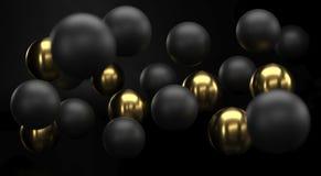 Черный и золотой реалистический конец предпосылки сфер вверх Фон шариков metall с глубиной поля Золотой и черный стоковое фото rf