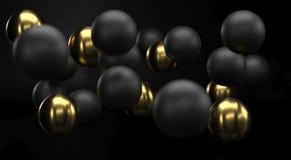 Черный и золотой реалистический конец предпосылки сфер вверх Фон шариков metall с глубиной поля Золотой и черный стоковые изображения rf