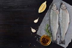 Форель 2 рек на доске, с травами, специи, лимон и перец на деревянной доске, подготавливает для варить рыбы свежие Стоковое Изображение