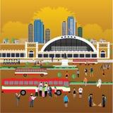 Формат eps 10 станции Hua Lamphong вокзала Бангкока Стоковое Изображение