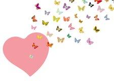 Форма бабочки и сердца летания Стоковые Фото