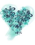 Форма бабочки сердца сини и teal Стоковые Изображения