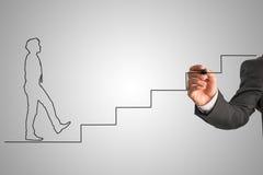 Форма бизнесмена в связи идя вверх по лестницам Стоковое Изображение RF