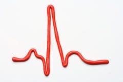 форма волны красного цвета ecg Стоковое Изображение