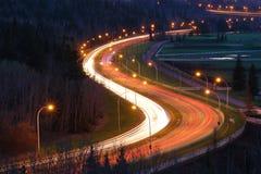 форма дороги s ночи автомобилей Стоковые Изображения