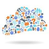 Форма значка облака вычисляя установленная Стоковое Изображение