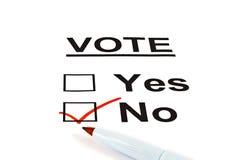 форма проверенная ballot отсутствие вотума да Стоковое Фото