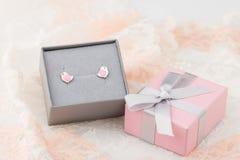 Форма птицы с стержнями серьги сердец в розовой подарочной коробке на ба шнурка Стоковое Изображение
