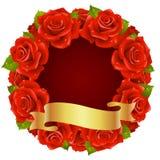 форма розы красного цвета рамки круглая Стоковые Изображения RF