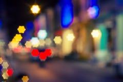 Форма света и звезды города Bokeh Стоковые Фото