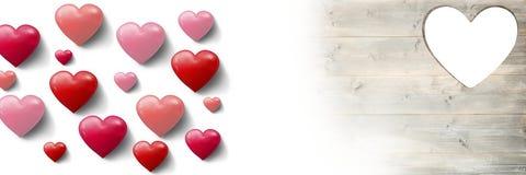 Форма сердца валентинок в сердцах древесины и влюбленности Стоковые Фото