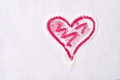 Форма сердца в муке на красной доске вектор знака сетки влюбленности Стоковые Изображения RF