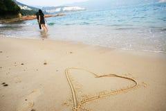 форма сердца пляжа стоковые изображения rf