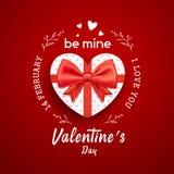 Форма сердца подарочной коробки с днем Валентайн красной ленты смычка счастливым иллюстрация штока