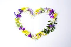 Форма сердца сделанная красочных wildflowers Стоковое Изображение RF