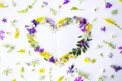 Форма сердца сделанная красочных wildflowers Стоковая Фотография RF