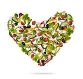 Форма сердца сделанная различного вида овоща на белизне Стоковое Изображение