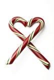 Форма сердца тросточки конфеты Стоковые Фото