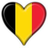 форма сердца флага кнопки Бельгии Стоковое Изображение