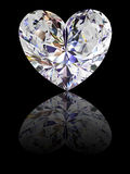 форма сердца черного алмаза предпосылки лоснистая стоковая фотография