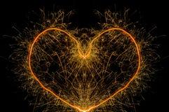 Форма сердца бенгальского огня Стоковые Изображения RF