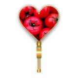 Форма сердца вполне томатов с стержнем иллюстрация вектора