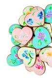 Форма сердца заморозила печенья имбиря Стоковая Фотография
