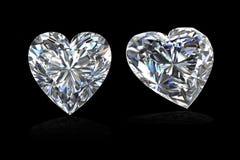 Форма сердца диаманта на black-3D представляет бесплатная иллюстрация