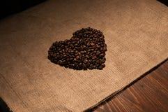 форма сердца кофе фасолей Стоковые Фото
